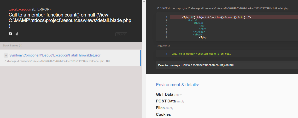 Laravel: Blade Template Debugging